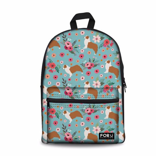 Customized Australian Shepard Pattern Women School Backpack For Girls Kids Back to School Bags Children Schoolbag Satchel Cute