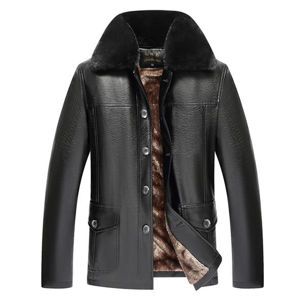 Kürk Yaka Deri Ceket Erkekler Kış Polar Sıcak Kalın Streetwear Palto Erkek Rahat Varsity Baggy PU Siyah Rüzgarlık Ceket