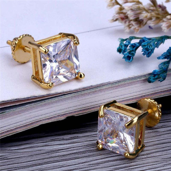 Luxury Gold Plated Screw Back Earrings Hot Fashion Mens Hip Hop Earring Brand CZ Earrings Brilliant CZ Ear Stud Fine Jewelry Lover Gift