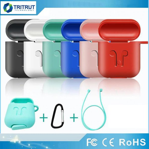 For Apple AirPods Protective Shockproof Silicone Case Pouch With Anti-lost Strap Dust Plug For TWS Bluetooth Earphone Retail Package MQ300