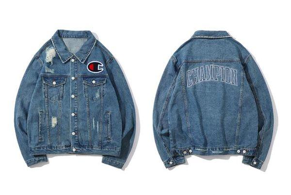Campeones para hombre chaqueta de mezclilla chaqueta de diseñador de moda de la calle europea clásico bordado de la marca chaquetas de jean de lujo hip hop agujero venta de la capa