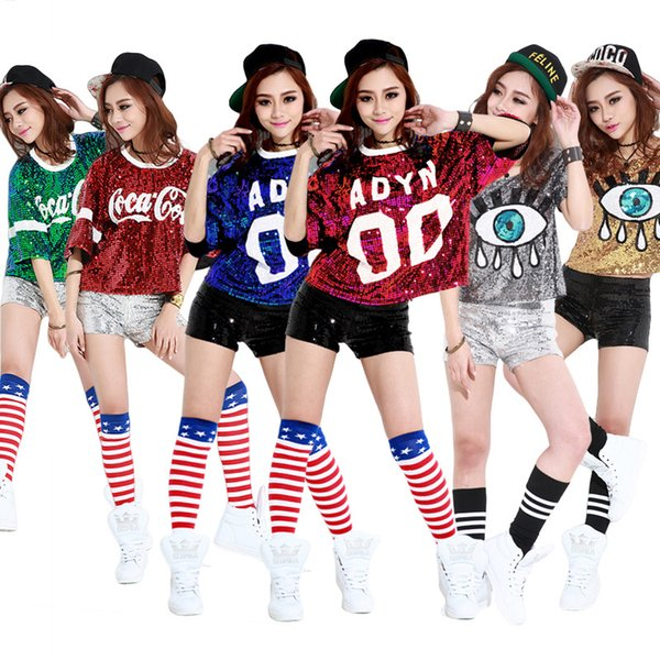 2016 Women Tshirt With Funny Print Sequined Top Plus Size Christmas T Shirts Hip Hop Rock Punk Jazz Club Clothing Camiseta Mujer Y19042101