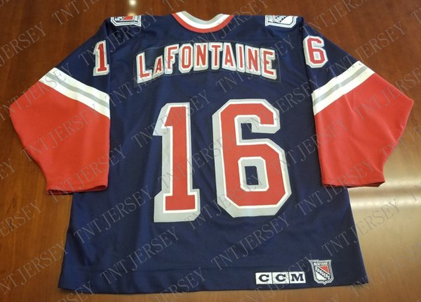 Cheap custom Pat LaFontaine Vintage New York Rangers CCM Jersey Lady Liberty Stitched Retro Hockey Jersey XS-5XL