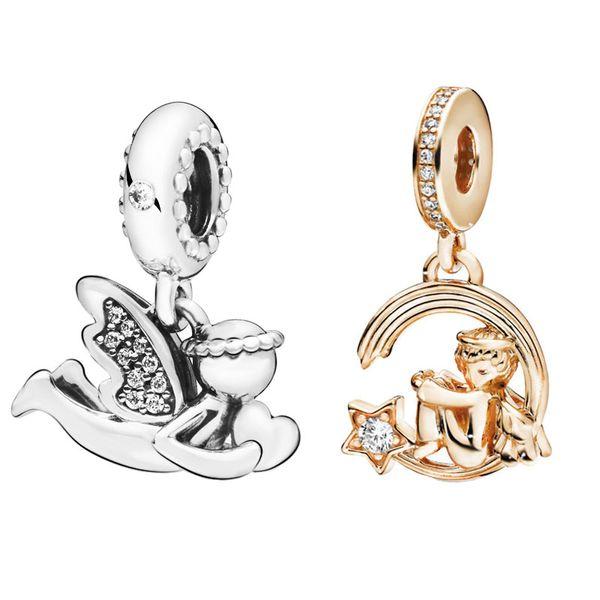Nuevo 100% 925 granos de la plata esterlina Shine Shooting Ángel de Amor cuelgan el encanto original apto pulseras mujeres joyería de bricolaje