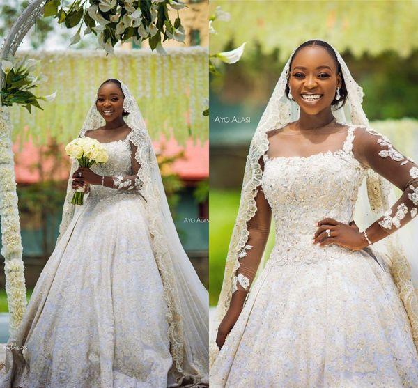 Abito da sposa sexy a-line in tulle d'oro con maniche lunghe e abito da sposa di gran lusso