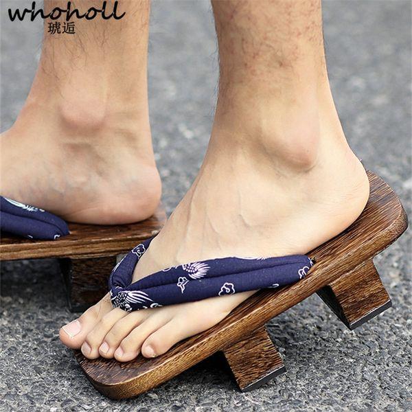 WHOHOLL Geta Style Japonais Geta Hommes Sandales En Bois Floral Tongs pour Hommes Cosplay Deux-dents Platofm Sandales Sabots Diapositives