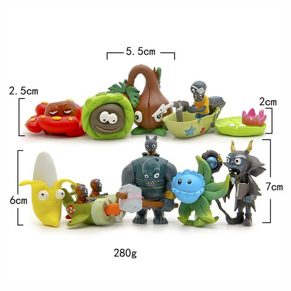 10pcs/set Game Plants vs Zombies 2 : It's About Time PVC Toy Boat, sandy beach, plane Zombies Figure model baby kids gift toy
