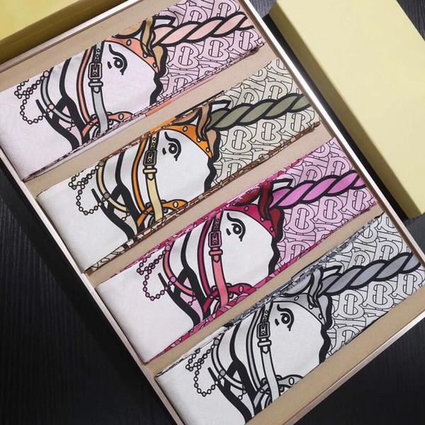 Compre Primavera Verão Imitação De Seda Sarja Magro Lenços Coloridos Dos Desenhos Animados Imprimir Bag Handle Fita Pequeno 160 8 Centímetros Longo