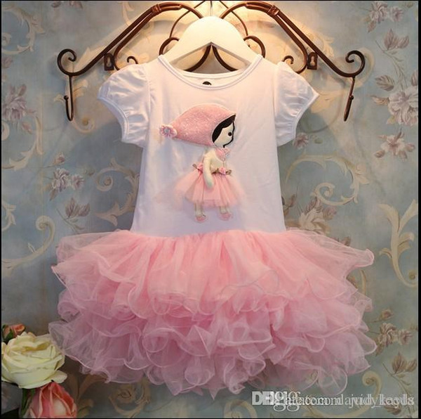 2017 New Arrivals Summer Cute Girls Cartoon Tutu Dress Fashion Girl Lace Tulle Dresses Kids Short Sleeve Cake Dress Children Gauze Dresses
