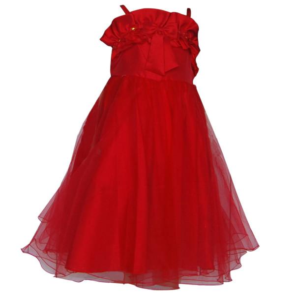 Vermelho Uma linha na altura do joelho Crianças Cinta de Espaguete tafetá frisado corpete saia de tule com Bowknot Lantejoulas Flor Meninas Vestido de Festa 2909805
