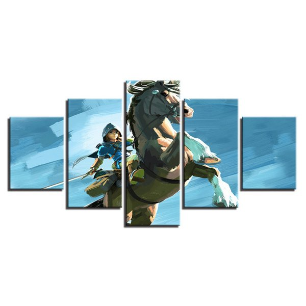 5 Pcs Combinations HD the Legend of Zelda Adventure Game Unframed Canvas Painting Wall Decoration Printed Oil Painting poster