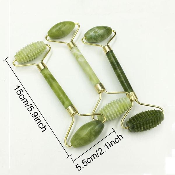 Jade naturales de la cabeza del doble cara de masaje de rodillos de masaje facial Herramientas masajeador Jade cara delgada que adelgaza Cuerpo de cabeza y cuello Rodillo BH1721 TQQ
