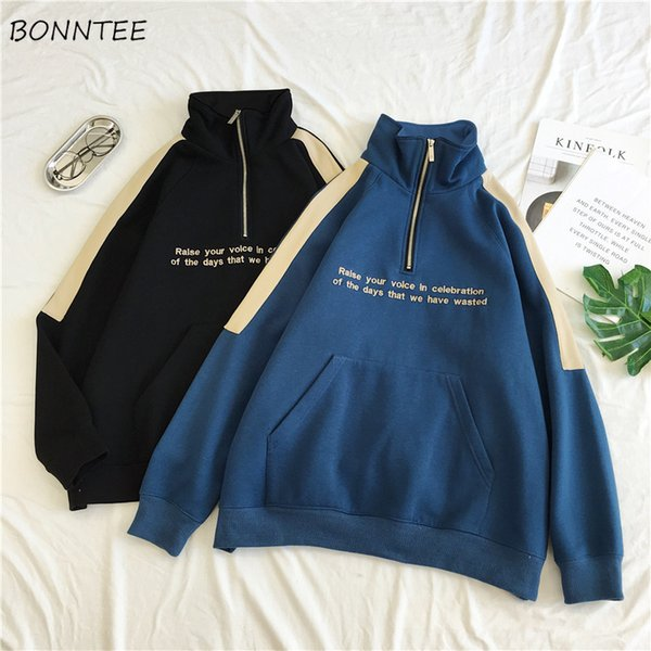Hoodies Women Simple New Zipper Korean Style Harajuku Loose Plus Velvet Womens Warm Patchwork Turtleneck Casual Clothes Students SH190911