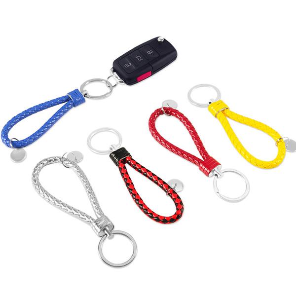 Porte-clés de voiture en cuir de mode pour Nissan Honda tissé à la main porte-clé en alliage de zinc coloré porte-clés coloré pour KIA Toyota