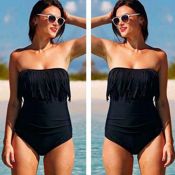 Tube Top Ruffle Bikini sólido traje de baño Mujeres String Sexy traje de baño Body de baño de corte alto Mujeres 2019