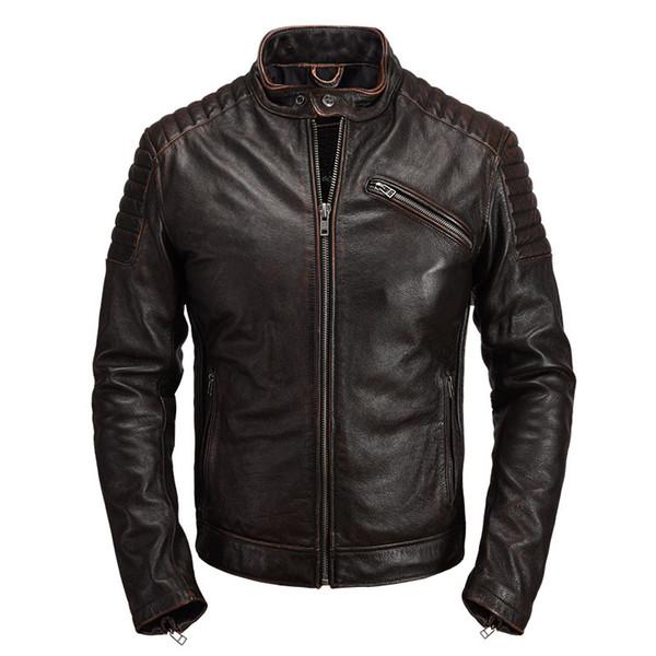 2019 Retro Brown Hommes Slim Fit Biker Veste En Cuir, Plus La Taille 4XL Véritable Vachette De Printemps Moto En Cuir Manteau En Cuir LIVRAISON GRATUITE