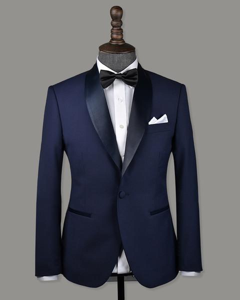 Populaire One Button garçons d'honneur châle revers marié smokings garçons d'honneur meilleur costume homme costumes de mariage des hommes époux (veste + pantalon + cravate) B193