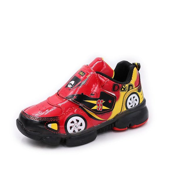 hot Boys LED lights Car running shoes baby flash shoes baby shoes children sneakers free shipping 24-33