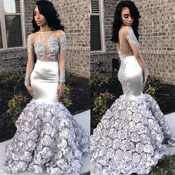 Grey Long Sleeves Lace Appliques  Tulle Flowers Mermaid Formal Evening Dress Floor Length Women Prom Gown