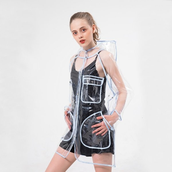 1PC Waterproof fashion transparent plastic clear ladies women raincoat jacket hooded with big pocket for outdoor rain gear