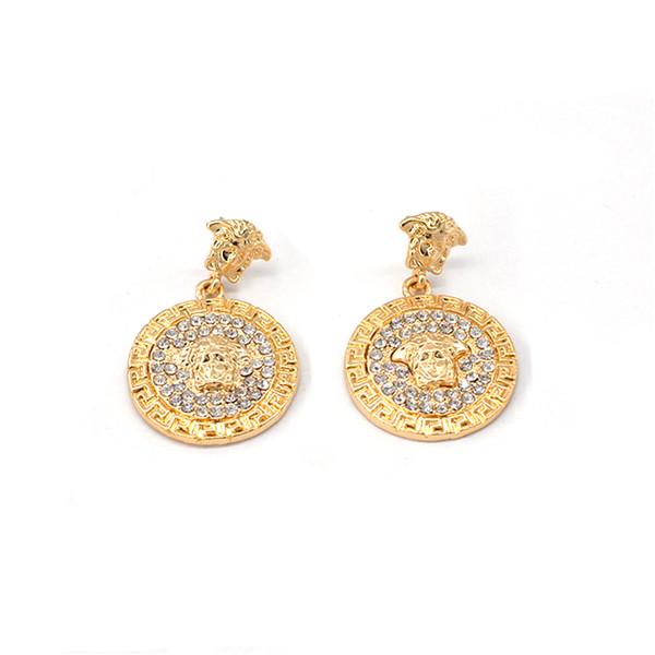 2019 Vintage Round Gold Baroque Lion Head Dangle Earrings for Women Rhinestone Shining Lion Head Drop Earrings Women Ear Decor