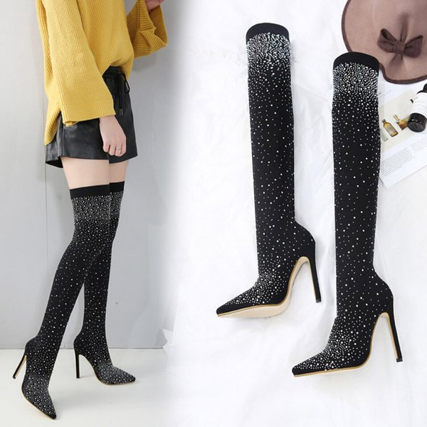 Women's Socks Boots Bling Sequins Winter Long Tube Boot Over-the-Knee Fashion Pointed Toe High Heel Stiletto Heels Shoes Sexy