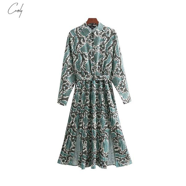 Chic Print Shirt Dress Pattern Bow Tie Snake Sashes Elastic Waist Pleated Long Sleeve Midi Dresses Vestidos Qb240