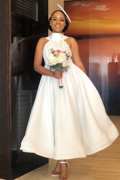 African Halter Satin A Line Short Bridesmaid Dresses 2020 Lace Applique Bow Sash Maid Of Honor Dress Wedding Guest Plus Size Dresses BM1901