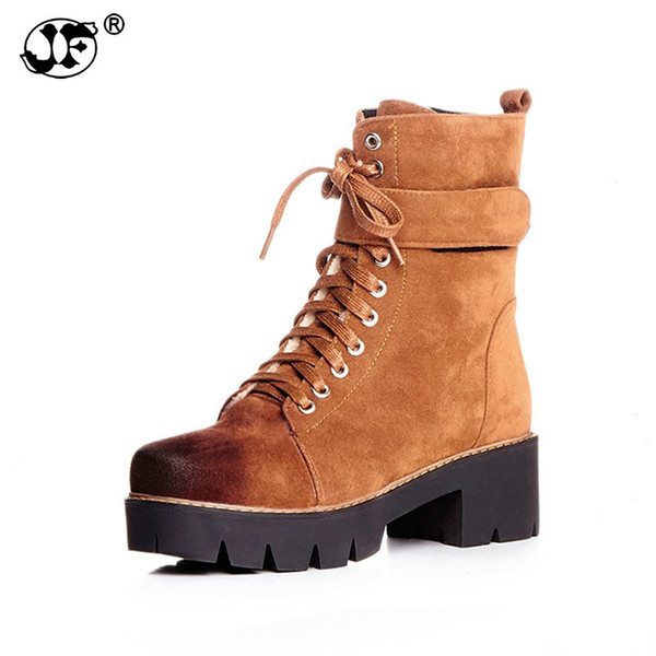 2018 large size 33-42 Martin Boots Women Fashion winter Shoes Woman Square med Heels Ankle Boots add fur Platform 954