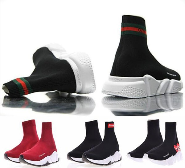 Nova Meia Sapato Trainer Velocidade Sapatos Casuais Sapatilhas Meias Trainer Velocidade Race preto Sapatos das mulheres dos homens Sapatos de Esportes 36-45