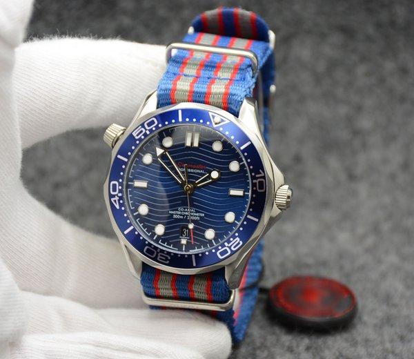 Top 2813 42MM Automatic Outdoor Herrenuhren Uhr Blaues Zifferblatt Mit Blauer Drehbarer Lünette und Transparentem Gehäuseboden Mit Edelstahlarmband