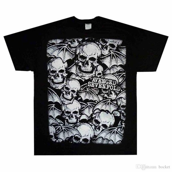 Resmi Avenged Sevenfold - Allover Deathbats - Erkekler Siyah T-Shirt ABD İTHALAT