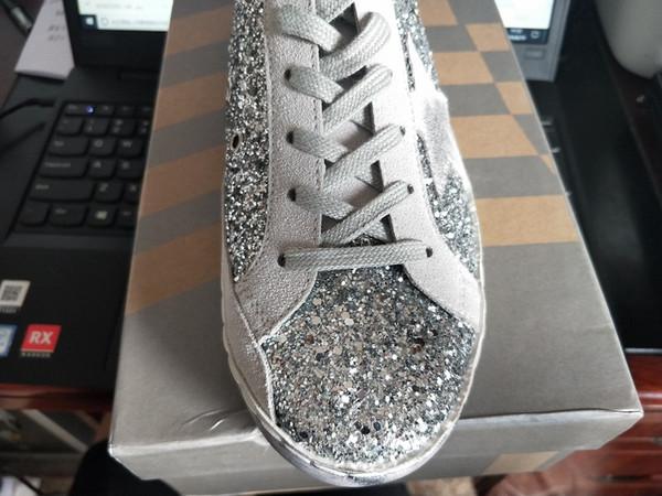 Femmes Sequin Petit sales Chaussures de haute qualité en cuir véritable concepteur coréenne étoile d'or Old Style Sneakers Chaussures Casual Q-374