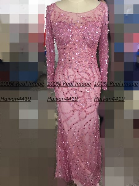 2020 Real Image Mermaid Prom Kleider Fuchsia Illusion Long Sleeves Bling Kristall Perlen bodenlangen formale Plus Size Party Abendkleider