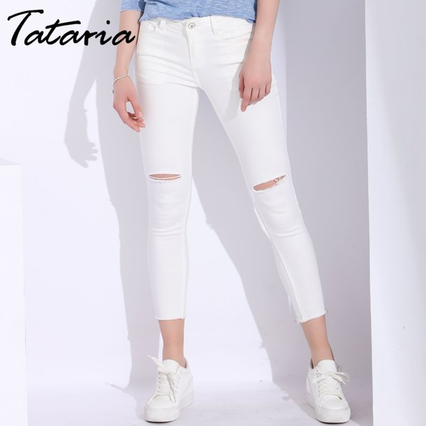 White Skinny Woman With Holes Slim Pencil Denim Pants Ripped Jeans For Women High Waist Stretch Capris Ladies Jean Femme Q190419