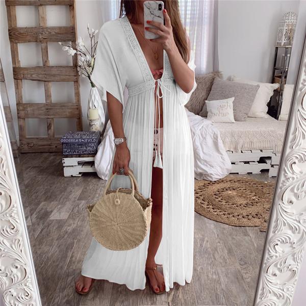 Mulheres verão Maiô Biquíni Cover Up Sexy Long Beach Dress Swimwear Sólida Rendas Elegante Maiô Kimono Cardigan Túnica