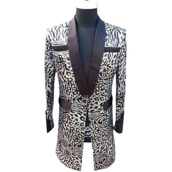 Long Jacket Men Sequin Blazer Men Club Party Singer DJ Host Stage Clothing For Suit Jacket Coat Blazer Masculino Plus 5xl #539027