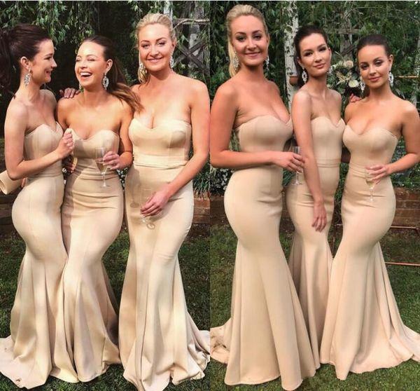 2019 Últimas sirena Vestidos de dama de honor Sexy Sweetheart Country Wedding Guest Wear Vestidos de noche de fiesta Por encargo Vestido barato de dama de honor