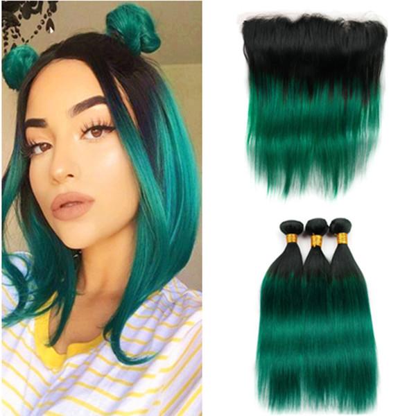 # 1B / Ombre droits Vert Trames de cheveux brésiliens avec Frontal Noir Ombre Vert foncé cheveux humains Tissages 3Bundles avec 13x4 Dentelle Frontal