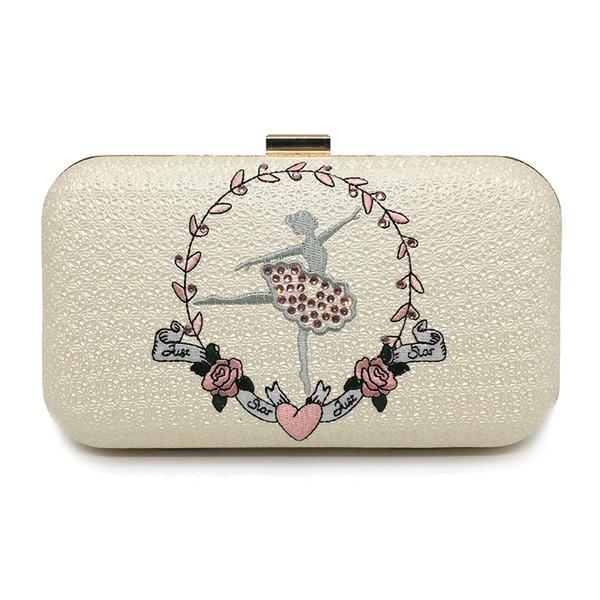 Women Handbag Clutch Elegant Crystal Women Evening Bag Flower Embroidery Wedding Bag Purse Ladies Party Bag With Chain