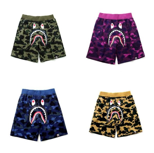 best selling Fashion Men's Outdoor Shorts Street Tide Shark Japanese Camouflage Blue Terry Cloth Men's Shorts Casual Brand Shorts #DK02