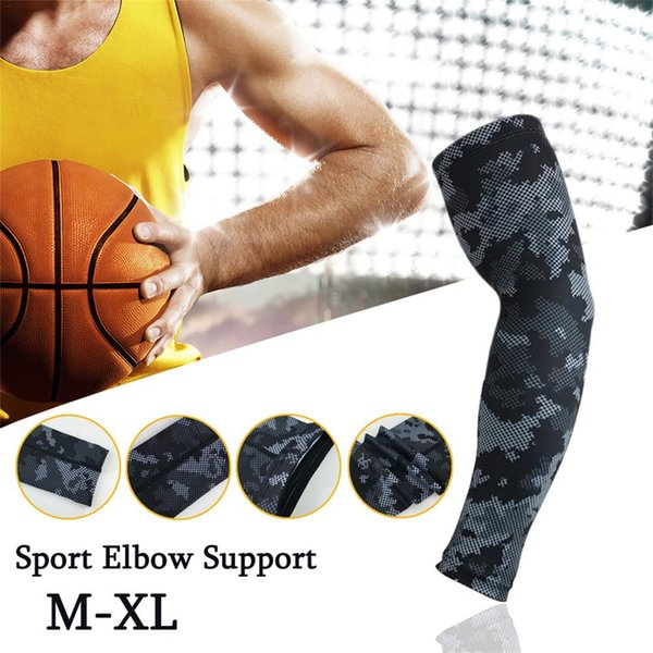 Ejecución de Baloncesto Brazalete Codo extendido Deporte Manga almohadilla de compresión del calentador del brazo del codo del protector de apoyo de la ayuda para los hombres