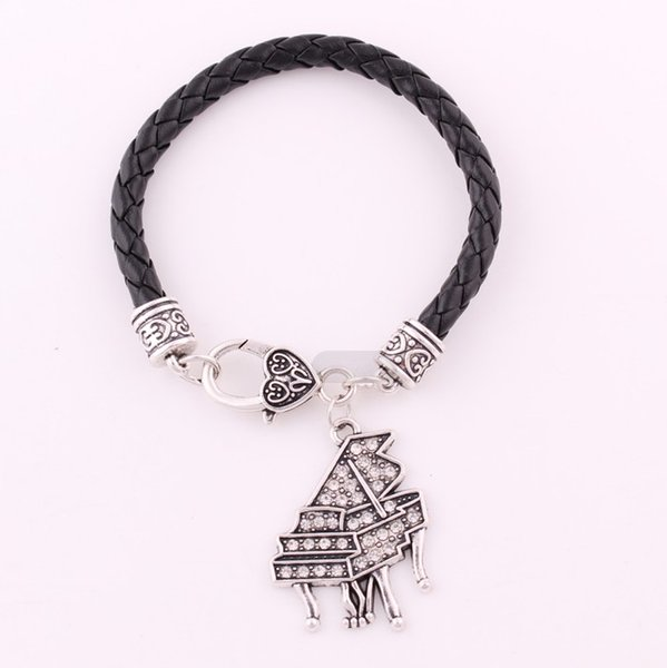 Huilin Jewelry Hot sale Unique piano pendant plated crystal alloy fashion bracelets for gift