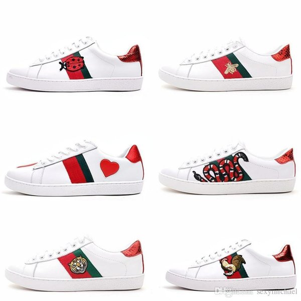 Mens Designer Luxury wcdhd Shoes Casual Shoes White Women Mens Sneakers Advanced Material Bee Tiger Snake Genuine Leather With OG Box