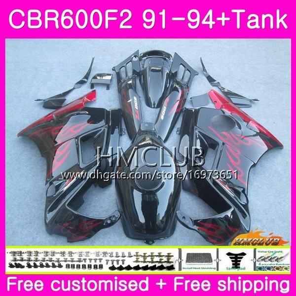 Bodys para Honda CBR 600F2 RBC 600 F2 FS 91 92 93 94 76HM.1 CBR600 F2 CBR600FS CBR600RR CBR600F2 1991 1992 1993 1994 Venda chamas vermelhas carenagem