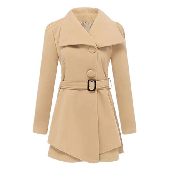 Cotton Slim Women Overcoat 2019 Winter Mid-Long Style Solid Beige Black Woman Outwear Jackets Ladies Elegant Button Casual Coat