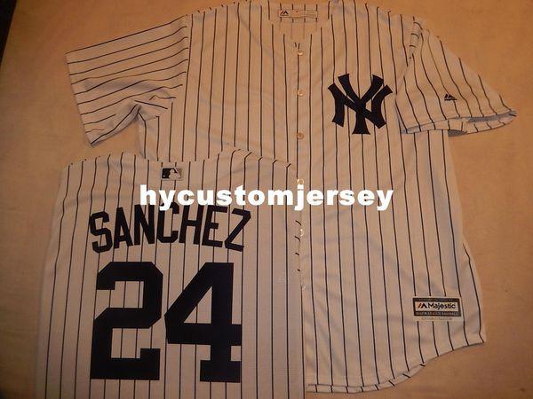 Ucuz özel New York # 24 GARY SANCHEZ Dikili SERIN BASE Beyzbol Forması WHT P / S Yeni Erkek dikişli formalar Büyük Ve Tall BOYUTU XS-6XL satılık