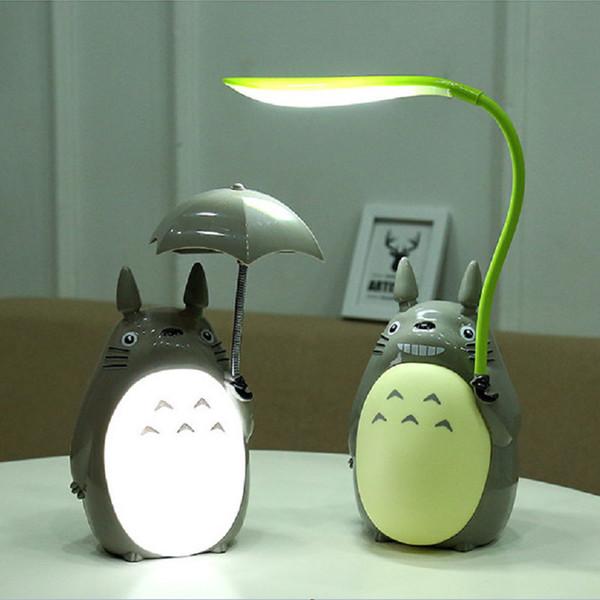 Kawaii Dos Desenhos Animados Totoro 3 Escolha Recarregável Candeeiro De Mesa Levou Night Light Reading Para Crianças Presente Home Decor Novidade Iluminações Q190611