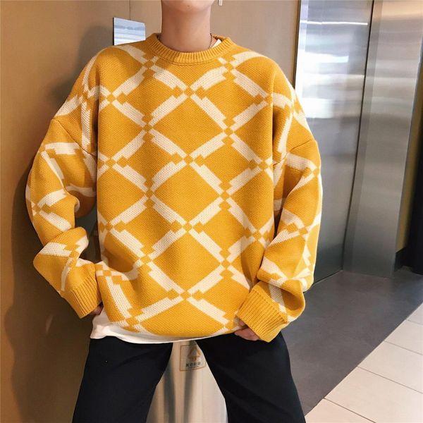 2018 Kış erkek Moda Geometrik Desen Yuvarlak Cololar Örgü Kazaklar Gevşek Rahat Düz Renk Sıcak Kazak Tutmak M-2XL