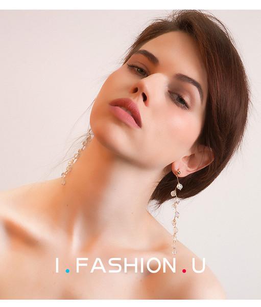 Европа и американская корейская модная темпераментная лунная лампа BEADS LONG EARRINGS платье с элегантным дамским платьем, ушные капли маленькие и свежие